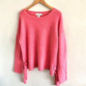 H&M Pink Lace Up Side Oversize Sweater